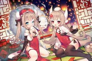 Rating: Safe Score: 105 Tags: 2girls ark_order brown_hair chinese_clothes chinese_dress food green_eyes hat horns loli long_hair mask pointed_ears red_eyes tagme_(character) tail thighhighs twintails utm User: BattlequeenYume