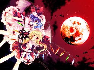 Rating: Safe Score: 32 Tags: 2girls flandre_scarlet moon remilia_scarlet sky touhou vampire User: Eruku