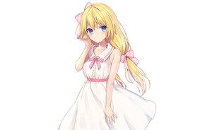 Rating: Safe Score: 57 Tags: blonde_hair blue_eyes blush bow dress long_hair original rimo summer_dress white User: otaku_emmy