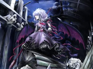 Rating: Safe Score: 35 Tags: chain chama_(painter) dress night pink_hair remilia_scarlet ribbons shackles short_hair spear torn_clothes touhou weapon wings wristwear User: minabiStrikesAgain
