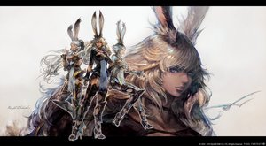 Rating: Safe Score: 35 Tags: animal_ears armor breasts bunny_ears choker cleavage dark_skin final_fantasy final_fantasy_xiv gray_hair long_hair purple_eyes see_through short_hair square_enix takahashi_kazuya thighhighs viera watermark User: SciFi
