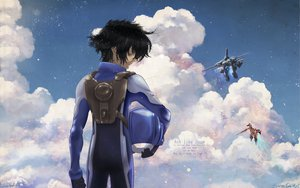 Rating: Safe Score: 20 Tags: clouds mecha mobile_suit_gundam mobile_suit_gundam_00 setsuna_f_seiei User: RyoCharge