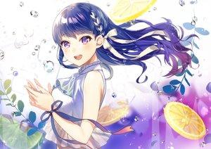 Rating: Safe Score: 41 Tags: blue_hair blush bow braids bubbles food fruit killcy long_hair original purple_eyes ribbons underwater water User: BattlequeenYume