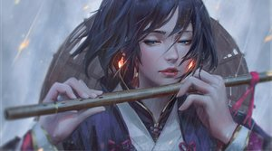 Rating: Safe Score: 171 Tags: black_hair blue_eyes close flute guweiz hat instrument rain realistic ribbons short_hair water User: luckyluna