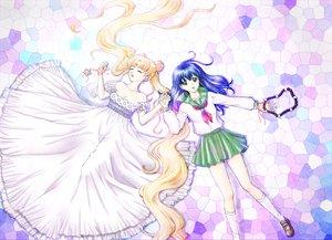 Rating: Safe Score: 39 Tags: 2girls crossover dress higurashi_kagome inuyasha long_hair neo_queen_serenity sailor_moon school_uniform tsukino_usagi User: Chijo