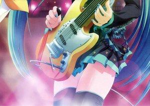 Rating: Safe Score: 44 Tags: guitar hatsune_miku instrument maruchan thighhighs vocaloid User: 秀悟