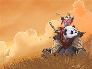 Rating: Safe Score: 42 Tags: animal bear orange panda samwise_didier sword weapon world_of_warcraft User: Oyashiro-sama