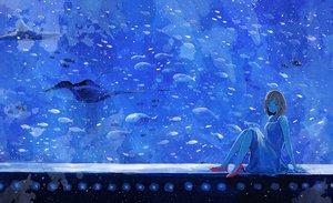 Rating: Safe Score: 71 Tags: animal blue brown_hair dress fish nomiya_(no_38) original short_hair User: Flandre93