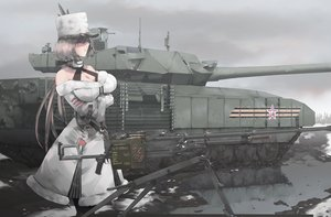Rating: Safe Score: 36 Tags: anthropomorphism breasts cleavage girls_frontline gray_hair gun hat kord_(girls_frontline) long_hair ponytail red_eyes treeman uniform weapon User: Nepcoheart