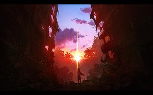 Rating: Safe Score: 54 Tags: building j.taneda long_hair original red ruins scenic signed sunset User: FormX
