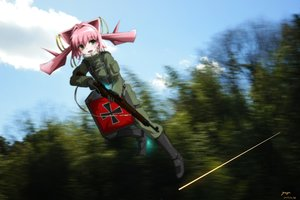 Rating: Safe Score: 30 Tags: forest genya67 green_eyes gun loli military muv-luv muv-luv_alternative pink_hair signed tamase_miki tree twintails uniform weapon User: RyuZU