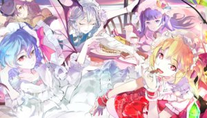 Rating: Safe Score: 64 Tags: 119 cake drink flandre_scarlet food group hong_meiling izayoi_sakuya maid patchouli_knowledge remilia_scarlet touhou vampire User: FormX