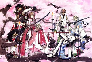 Rating: Safe Score: 16 Tags: black_hair blonde_hair blue_eyes bow brown_eyes brown_hair clamp dress fay_d_flourite flowers green_eyes japanese_clothes katana kurogane mokona petals red_eyes sakura_(tsubasa) scan sword syaoran tree tsubasa_reservoir_chronicle weapon User: Oyashiro-sama