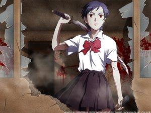 Rating: Safe Score: 38 Tags: black_hair blood blood_(anime) bow katana otonashi_saya red_eyes school_uniform short_hair sword weapon User: Oyashiro-sama