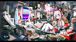 Rating: Safe Score: 354 Tags: aliasing animal_ears blue_eyes computer drink fan food game_console glasses headphones instrument jpeg_artifacts long_hair original pink_hair school_uniform shirakaba skirt thighhighs User: Flandre93