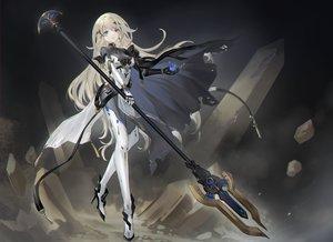 Rating: Safe Score: 73 Tags: armor asukayou blonde_hair blue_eyes bodysuit cape long_hair original spear techgirl weapon User: mattiasc02