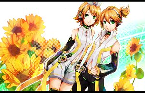 Rating: Safe Score: 72 Tags: blonde_hair flowers green_eyes headphones kagamine_len kagamine_rin len_append male rin_append short_hair shorts sunflower umimami vocaloid User: SciFi