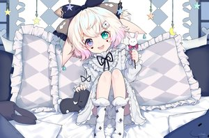 Rating: Safe Score: 40 Tags: animal_ears bicolored_eyes bunny_ears bunnygirl candy dress loli lolita_fashion lollipop original short_hair signed snozaki User: BattlequeenYume