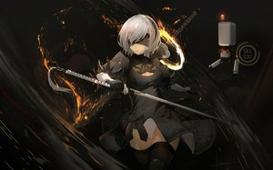 Rating: Safe Score: 97 Tags: aliasing blindfold bodysuit dark dress fire gloves gray_hair headband katana luomo nier nier:_automata pod_(nier:_automata) robot short_hair signed sword thighhighs weapon yorha_unit_no._2_type_b User: FormX