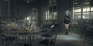 Rating: Safe Score: 46 Tags: collar dress garter gothic gray_hair kneehighs lm7_(op-center) original scenic skirt twintails User: Dreista