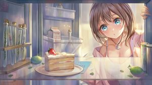 Rating: Safe Score: 27 Tags: aqua_eyes blush breasts brown_hair cake cleavage food fruit necklace original strawberry yahiro_(heartseek000) User: BattlequeenYume