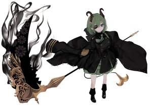 Rating: Safe Score: 59 Tags: blue_eyes boots demon eyepatch green_hair honey_strap horns military naruwe pointed_ears scythe sekishiro_mico short_hair tie uniform weapon white User: otaku_emmy