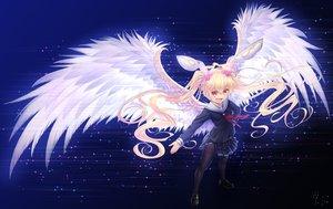 Rating: Safe Score: 57 Tags: angel animal_ears bettle_(b_s_a_n) blonde_hair bunny_ears fang long_hair pantyhose parhelia red_eyes school_uniform sennen_sensou_aigis twintails wings User: RyuZU
