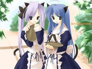 Rating: Safe Score: 18 Tags: animal_ears catgirl hiiragi_kagami izumi_konata lucky_star maid waitress User: Oyashiro-sama