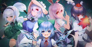 Rating: Safe Score: 42 Tags: animal_ears bunny_ears bunnygirl cirno dqn_(dqnww) fairy group izayoi_sakuya konpaku_youmu long_hair pointed_ears reisen_udongein_inaba shameimaru_aya short_hair sword touhou weapon User: Dreista
