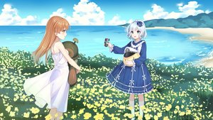 Rating: Safe Score: 15 Tags: aliasing beach blue_eyes brown_hair dress gray_hair hat lolita_fashion long_hair see_through summer_dress tagme_(character) yinchi zhanjian_shaonu User: gnarf1975
