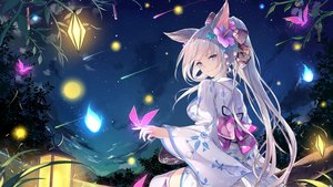 Rating: Safe Score: 112 Tags: animal_ears aqua_eyes clouds flowers foxgirl fuuro_(johnsonwade) japanese_clothes landscape long_hair night original ponytail scenic sky stars tail thighhighs white_hair yukata User: BattlequeenYume