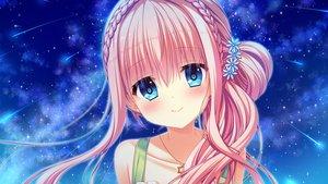 Rating: Safe Score: 53 Tags: aqua_eyes braids circus close clouds flowers game_cg koiwai_sena long_hair mitsumomo_mamu necklace night pink_hair sky stars tenpure!! User: luckyluna