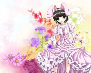 Rating: Safe Score: 49 Tags: animal_ears black_hair bow bunny_ears bunnygirl choker dress fatkewell flowers green_eyes headdress ikoku_meiro_no_croisee jpeg_artifacts lolita_fashion ribbons rose short_hair wristwear yune_(ikoku_meiro_no_croisee) User: opai