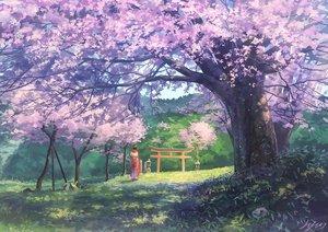 Rating: Safe Score: 105 Tags: cherry_blossoms flowers grass japanese_clothes kimono original scenic signed somei_yoshinori torii tree User: RyuZU