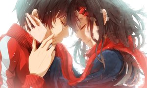 Rating: Safe Score: 115 Tags: black_hair close hug kagerou_project kisaragi_shintaro male nalwori scarf tateyama_ayano tears User: mattiasc02