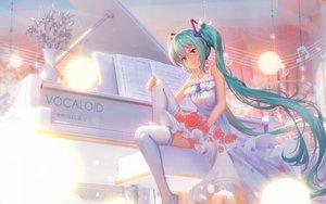 Rating: Safe Score: 76 Tags: cha_(pixiv12794171) choker dress flowers hatsune_miku instrument long_hair music piano rose thighhighs twintails vocaloid User: luckyluna