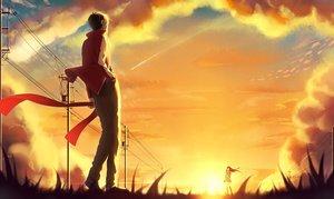 Rating: Safe Score: 114 Tags: clouds grass kagerou_project kisaragi_shintaro kneehighs long_hair male p.rupon scarf short_hair skirt sky sunset tateyama_ayano User: Flandre93