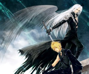 Rating: Safe Score: 20 Tags: blonde_hair cloud_strife final_fantasy sephiroth sword weapon white_hair wings User: Tensa