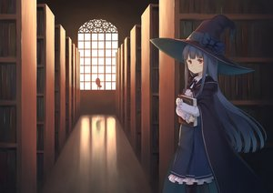Rating: Safe Score: 56 Tags: animal bird black_hair book bow brown_eyes cape dress hat hoodie long_hair luins-104 original owl witch witch_hat User: RyuZU