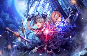 Rating: Safe Score: 64 Tags: 2girls annin_doufu braids choker clouds crown dress gloves gray_hair headdress idolmaster idolmaster_cinderella_girls idolmaster_cinderella_girls_starlight_stage kanzaki_ranko moon ninomiya_asuka orange_hair short_hair stockings sword twintails weapon User: luckyluna