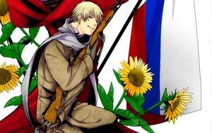 Rating: Safe Score: 20 Tags: all_male anthropomorphism axis_powers_hetalia flowers gun male russia_(hetalia) scarf sunflower weapon User: Matiasu