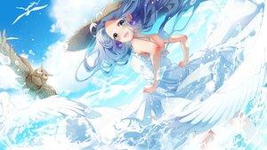 Rating: Safe Score: 46 Tags: animal bird blue_hair clouds dress green_eyes hat long_hair minami_mofuko original owl sky summer_dress User: RyuZU