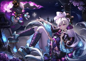 Rating: Safe Score: 160 Tags: boots bow building bunny choker clouds dress flowers goth-loli headdress king's_raid lavril_(king's_raid) lolita_fashion long_hair moon narae night purple_eyes rose silhouette sky stars white_hair User: otaku_emmy