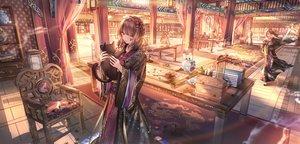 Rating: Safe Score: 59 Tags: aliasing animal book braids brown_hair cat chinese_clothes junpaku_karen original purple_eyes wink User: BattlequeenYume
