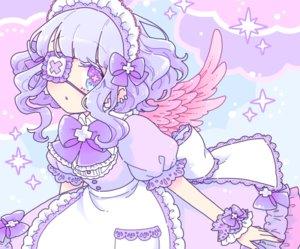 Rating: Safe Score: 28 Tags: apron blue_hair bow chachaco cropped dress eyepatch headdress lolita_fashion original polychromatic purple_eyes short_hair wings wristwear User: otaku_emmy