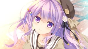 Rating: Safe Score: 47 Tags: aliasing ameto_yuki blush close game_cg hat navel_(company) ootsu_rose purple_eyes purple_hair ribbons seifuku spiral!! User: RyuZU