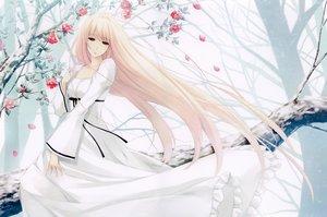Rating: Safe Score: 66 Tags: blonde_hair caucasus dress flowers long_hair nanatsuki_shion petals red_eyes sugina_miki tree User: luckyluna