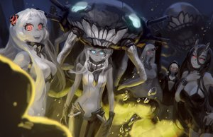 Rating: Safe Score: 117 Tags: airfield_hime anthropomorphism aqua_eyes battleship_hime black_hair blue_eyes bra breasts bubbles cleavage doyora gloves group hoodie horns kantai_collection long_hair re-class_battleship red_eyes seaport_hime underwater underwear water white_hair wo-class_aircraft_carrier User: mattiasc02