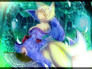 Rating: Safe Score: 54 Tags: animal_ears blonde_hair fan foxgirl japanese_clothes multiple_tails tail tamahana touhou yakumo_ran yellow_eyes User: opai