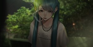 Rating: Safe Score: 41 Tags: aqua_hair black_eyes cigarette dark hatsune_miku leaves long_hair mano_aaa necklace smoking tree twintails vocaloid User: otaku_emmy